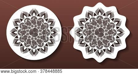 Laser Cut Mandala Coasters Or Wall Art Panels. Cnc Cutting Templates, Fretwork, Diy Craft. Decorativ