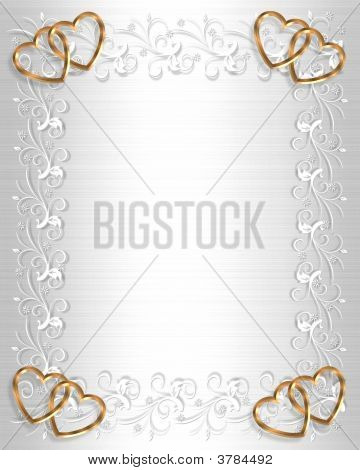 Wedding Invitation White Satin Gold Hearts
