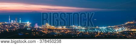 Batumi, Adjara, Georgia - May 27, 2016: Panorama, Aerial View Of Urban Cityscape At Sunset. Town At