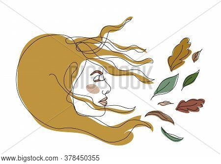 Beautiful Girl Symbolizing Fall. Autumn Time Concept. Profile Among Flying Leaves. Leaf Fall. Wind B