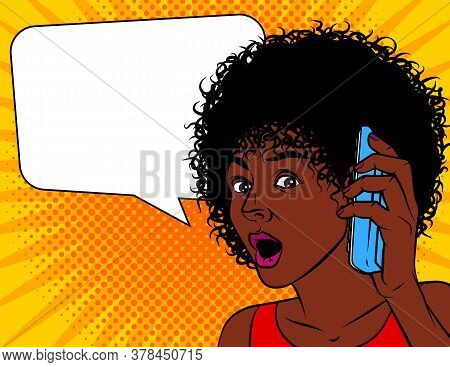 Vector Illustration Of Pop Art Comic Style. African American Woman Shocked. The Woman Opened Her Mou