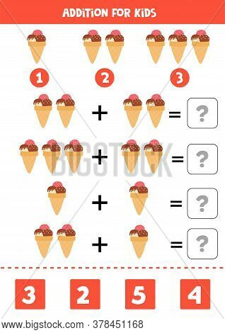 Addition With Cartoon Ice Creams. Math Game For Kids.