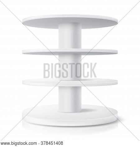 Round Stand, Shop Display Shelf And Product Rack Showcase, Isolated Realistic Vector Mockup. Superma