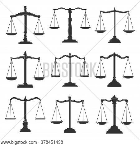 Scales, Justice Law, Notary Lawyer And Legal Attorney Vector Icons. Scales Symbols Of Judicial Justi