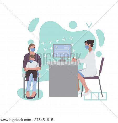 A Woman With A Child At A Doctor Appointment. Composition With Abstract Elements