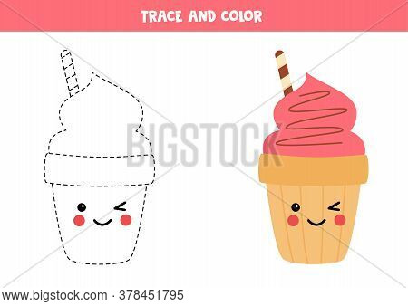 Tracing Lines With Cute Cartoon Ice Cream Cone.