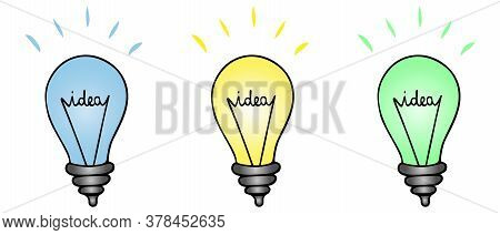 Ideas And Bulbs. Business Element. Lettering. Set Of Vector Illustrations. Group Of Lighting Fixture