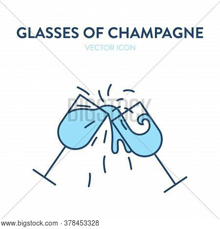 Two Champagne Glasses Clinking Icon. Vector Illustration Of Two Glasses Filled With Wine Clinking An