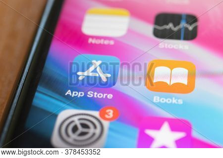 Moscow, Russia - 1 June 2020: App Store And Books App Logo Icon Macro Close-up , Illustrative Editor