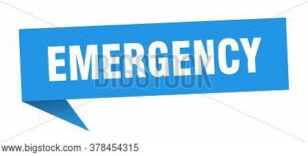 Emergency Speech Bubble. Emergency Ribbon Sign. Emergency Banner