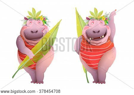 Hippopotamus Woman Posing In Jungle Leaves Costume, Funny And Hilarious Caricature Character Cartoon