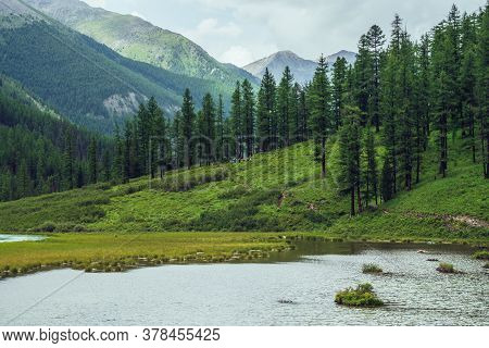 Atmospheric Scenery With Alpine Lake And Coniferous Forest In Mountain Valley. Dramatic Green Landsc