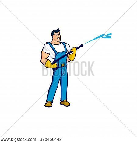 A Worker In A Blue Overalls Holds In His Hands A Device For Cleaning Houses Under Strong Pressure Of