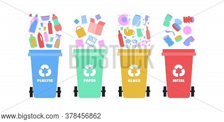 Illustration Of Sorting Garbage Into Trash Cans. Recycle Thrash And Waste Separation. Colorful Flat