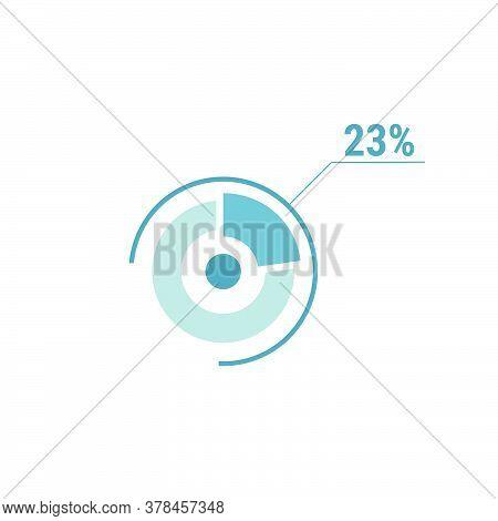 Twenty Three Percent Chart, 23 Percentage Diagram. Vector Circle Chart Design For Web Ui Design. Fla