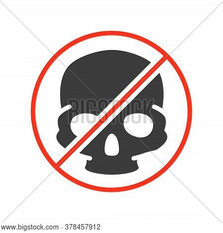 Forbidden Sign With A Human Skull Colored Icon. Transplantation, No Head Bones Symbol