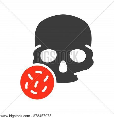 Skull With Bacteria Colored Icon. Bones Of The Head, Cranial Bacterial Infection, Osteomyelitis Symb
