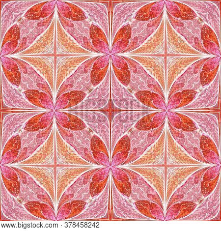 Beautiful Flower Pattern In Stained-glass Window Style. You Can Use It For Invitations, Notebook Cov