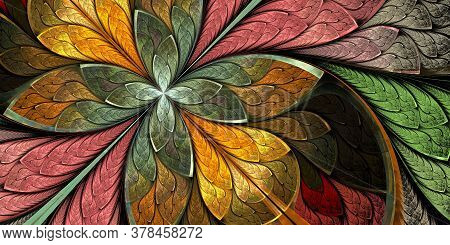 Multicolored Beautiful Fractal Flower In Stained-glass Window Style. You Can Use It For Invitations,