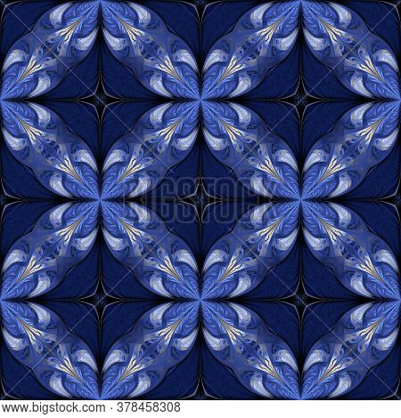 Blue Seamless Background In Fractal Design. You Can Use It For Invitations, Notebook Covers, Phone C