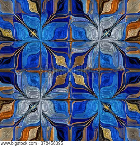 Seamless Multicolored Pattern From Stylized Flower. You Can Use It For Stained-glass Window, Tile, M