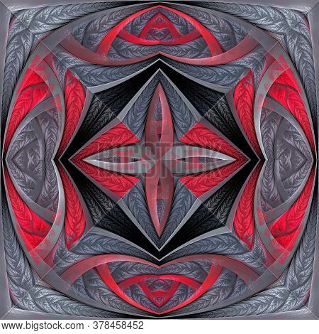 Beautiful Flower Pattern. Red, Gray. You Can Use It For Stained-glass Window, Tile, Mosaic, Ceramic,