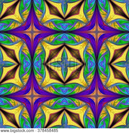 Beautiful Multicolored Geometric Pattern. You Can Use It For Stained-glass Window, Tile, Mosaic, Cer