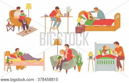 Father Care Feeding Kid Vector. Set Of Father Care Concepts On White. Daddy Reading Stories For Chil