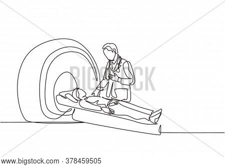 One Continuous Line Drawing Of Young Male Doctor Do Mri Procedure To Ct Scanning Male Cancer Patient