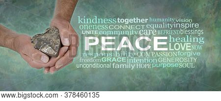 Love And Peace Word Cloud - Male Hands Holding A Wooden Heart Beside A Peace Word Cloud Against A Gr