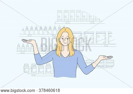 Health, Care, Medicine, Presentation, Advertisement, Pharmacy Concept. Young Happy Smiling Woman Gir