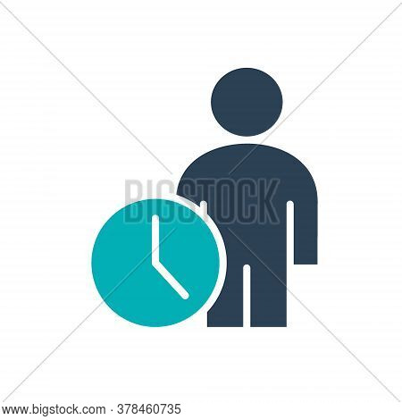 User Profile With Clock Colored Icon. Public Navigation, Waiting Hall Symbol