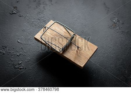 Mousetrap On A Black Background Concept For Free