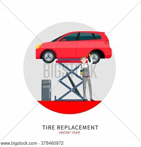 Mechanic In A Garage Sign. Wheels And Tyre Fitting Service. Transportation, Tire Repair, Computerize