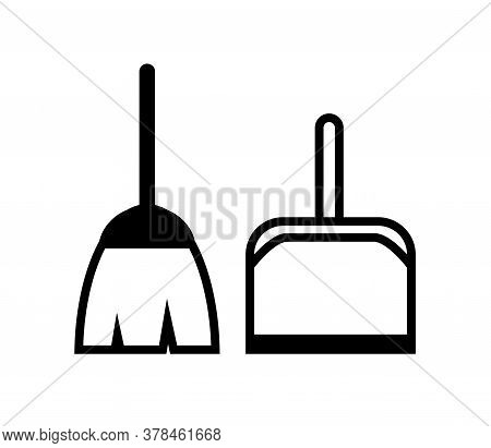 Broom And Scoop On A White Background. Symbol. Vector Illustration.