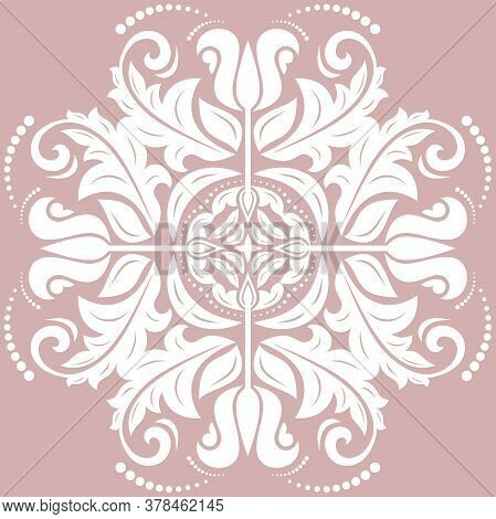 Oriental Vector Pattern With Arabesques And Floral Elements. Traditional Classic Purple And White Or