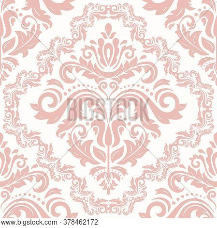Orient Vector Classic Pink And White Pattern. Seamless Abstract Background With Vintage Elements. Or