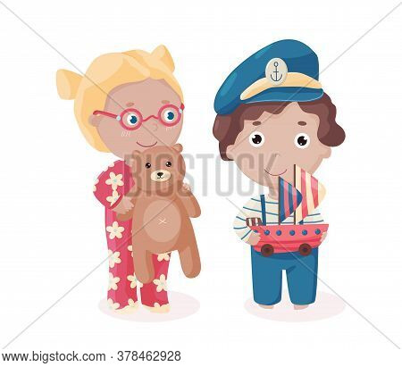 Vector Happy Girl In Eyeglasses With The Teddy Bear And A Boy In Captain Hat And Sailor Suit Holds T