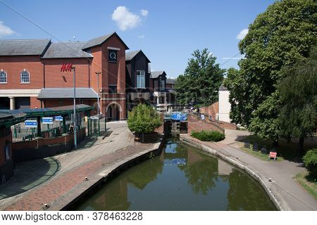 Banbury Canal And Lock And Views Of Castle Quay Shopping Centre In Banbury, Oxfordshire In The Uk, T