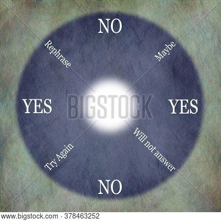 Pendulum Dowsing Circular Chart Diagram - Stone Coloured Rustic Background With A Blue Purple Circul