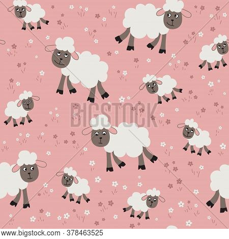 Vector Seamless Pattern With Sheep And Lambs In The Meadow. Loop Pattern For Fabric, Textile, Poster