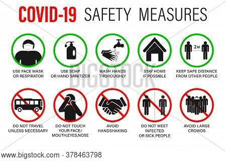 Virus Crown Set Covid -19 Precautions And Precautions Warning Signs - How To Protect Yourself And Ot