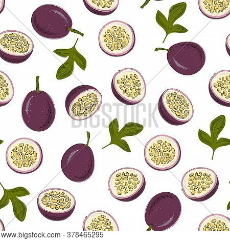 Vector Seamless Pattern With Passion Fruit. Beautiful Exotic Fruits For Decoration, Fabric, Textile,