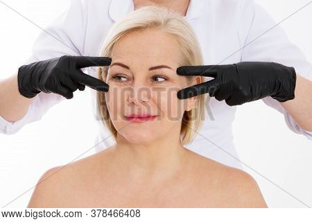 Wrinkles On The Face Of A Beautiful Middle-aged Woman, Women At A Beautician Appointment, Beautician