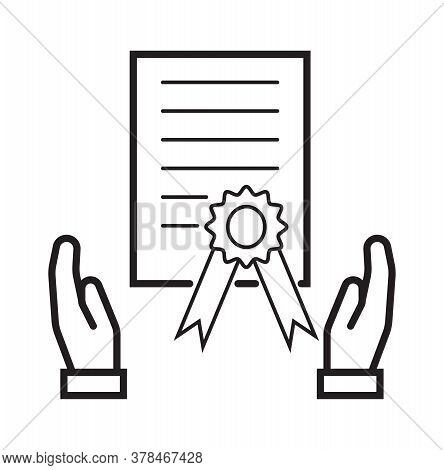 Grant Icon Vector. Certificate, Diploma Symbol In Outline Style. Successful Graduation Illustration.
