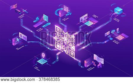 Qr Code Scan Isometric Infographics With Phone Making Payment, Smartphone Log In To Account, Generat