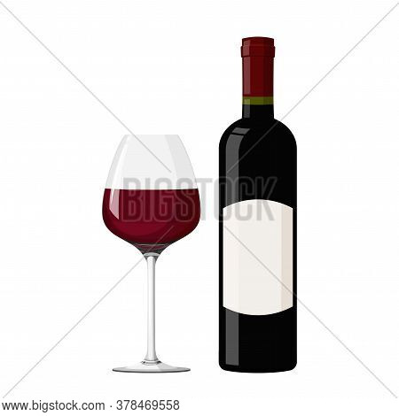 Wineglass With White Wine Vector Illustration. Realistic Glass With Bottle.