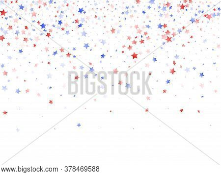 American Memorial Day Stars Background. Holiday Confetti In Usa Flag Colors For Patriot Day. Gradien