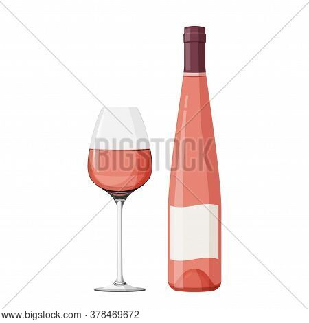 Wineglass With Rose Wine Vector Illustration. Realistic Glass With Bottle.