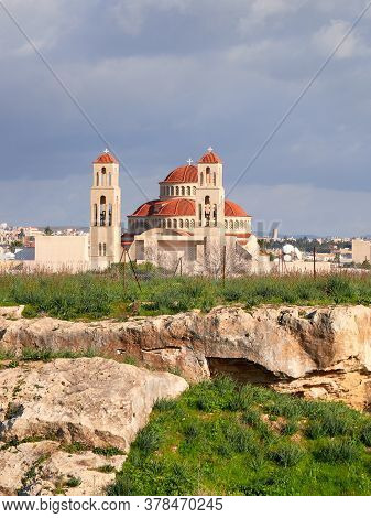 New Church Of Cyprus, Orthodox Church In Kolosi, Cyprus Island, With Ancient Ruins In Foreground. El
